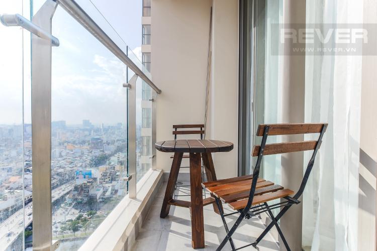 Balcony Cho thuê căn hộ Masteri Millennium Quận 4 tầng cao, 2PN, đầy đủ nội thất