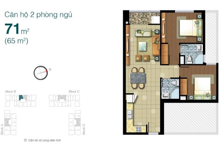 Mặt bằng căn hộ 2 phòng ngủ Bán và cho thuê căn hộ Lexington Residence tầng cao, 2PN, nội thất đầy đủ