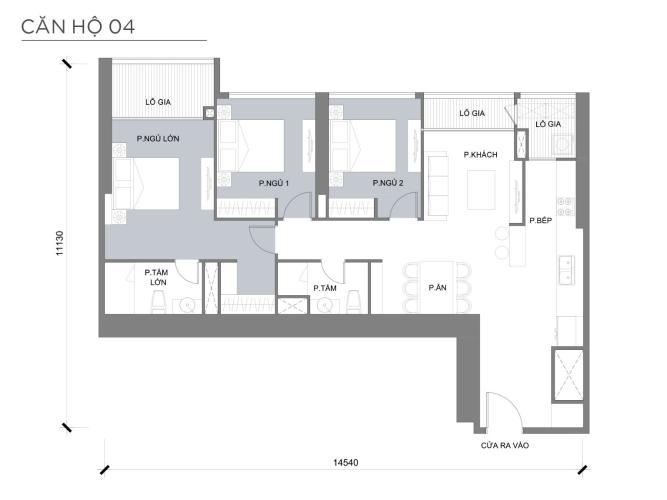 Mặt bằng căn hộ 3 phòng ngủ Căn hộ Vinhomes Central Park 3 phòng ngủ tầng thấp P3 nội thất đầy đủ