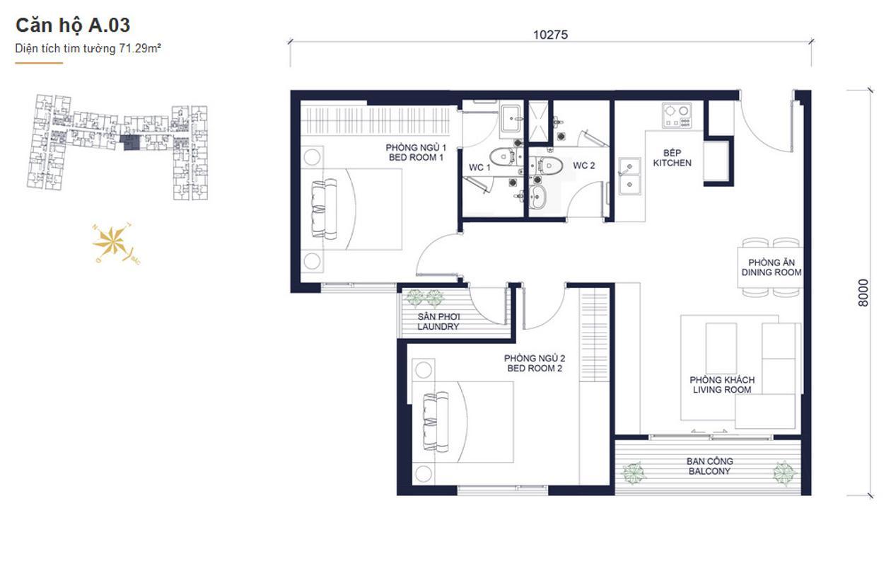 A03 Cho thuê căn hộ Masteri Millennium 2PN, block A, diện tích 65m2, đầy đủ nội thất, view hồ bơi mát mẻ