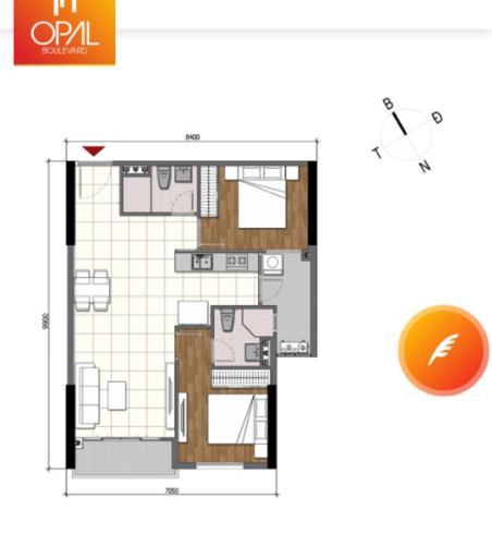 Căn hộ tầng cao Opal Boulevard 2 phòng ngủ, nội thất cơ bản.