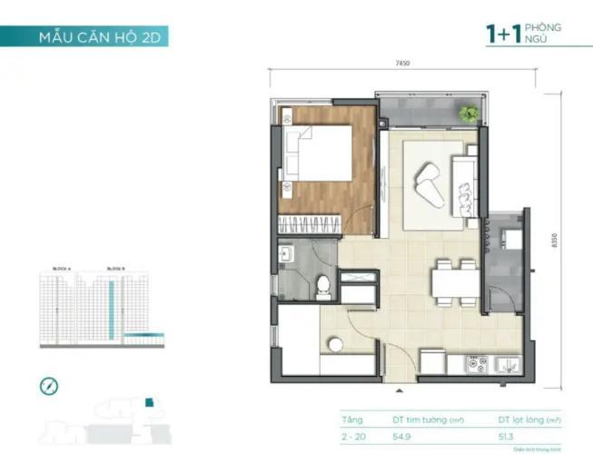 layout  căn số 9 tháp B dự án D'Lusso quận 2 Căn hộ D'Lusso 1 phòng ngủ, view  thoáng mát đón sáng.