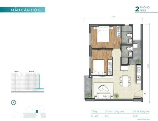 layout căn số 6 tháp B dự án D'Lusso quận 2 Căn hộ view thoáng mát D'Lusso nội thất cơ bản.