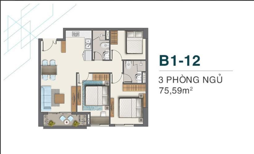 B1.12 Bán căn hộ Q7 Boulevard 3 phòng ngủ diện tích 75.59m2. Ban công hướng Nam, view hồ bơi