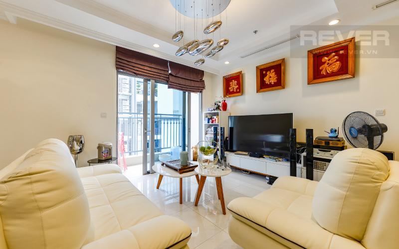 Phòng Khách Căn hộ Vinhomes Central Park tầng cao 4PN đầy đủ nội thất, view sông