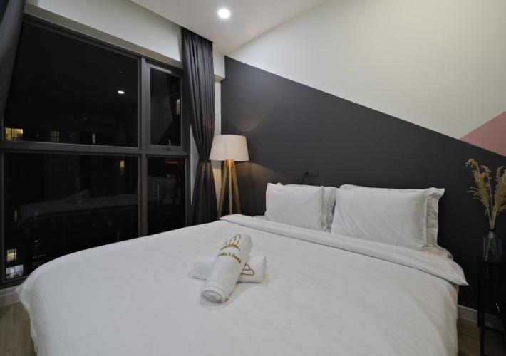 Phòng ngủ Masteri Millennium Quận 4 Căn hộ Masteri Millennium tầng cao, ban công hướng Đông Bắc.