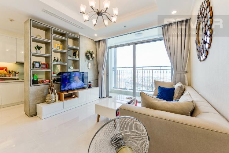 Phòng khách Căn hộ Vinhomes Central Park tầng cao, 2PN đầy đủ nội thất, view đẹp