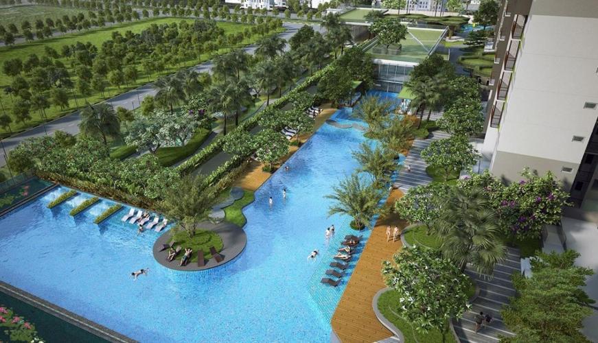Hồ bơi căn hộ One Verandah Căn hộ One Verandah đầy đủ nội thất, view thành phố và sông.
