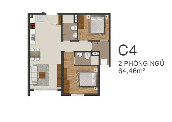 Mặt bằng nội thất Moonlight Park View Căn hộ Moonlight Park View tầng trung, 2 phòng ngủ, view nội khu.