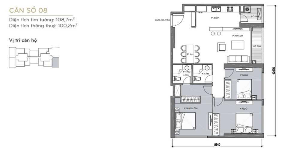 Mặt bằng căn hộ 3 phòng ngủ Căn hộ Vinhomes Central Park 3 phòng ngủ tầng cao L6 nội thất có sẵn