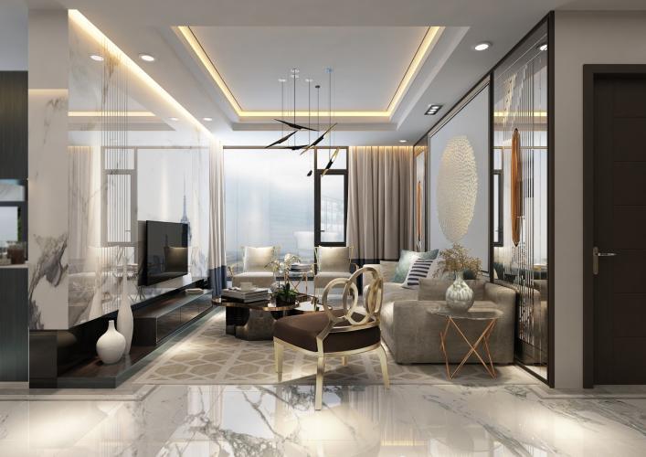 Phòng khách căn hộ Sunshine City Sài Gòn Bán căn hộ Sunshine City Sài Gòn tầng cao hướng cửa Đông Bắc, diện tích  84.2m2, 2 phòng ngủ, thiết kế hiện đại.