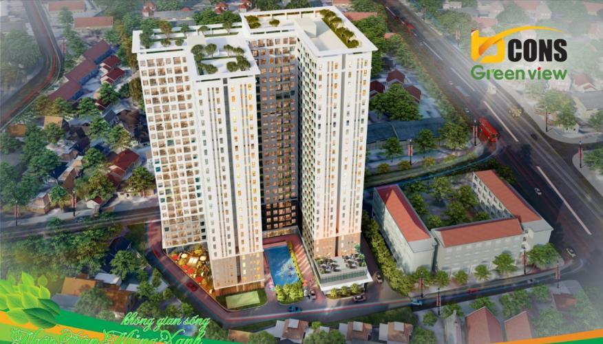 Building dự án Căn hộ Bcons Green View tầng thấp, không có nội thất.