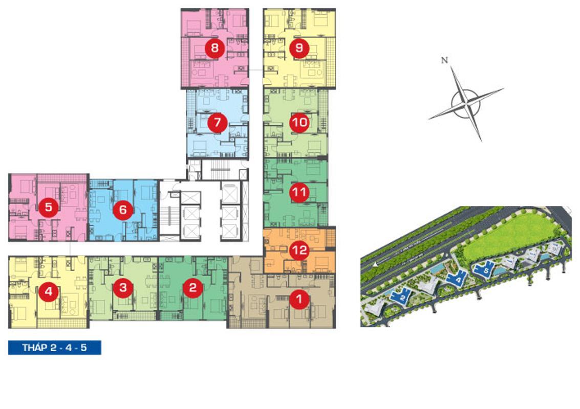 2-mat-bang Bán căn hộ The Sun Avenue 2PN, block 5, diện tích 71m2, nội thất cơ bản, view sông thoáng mát