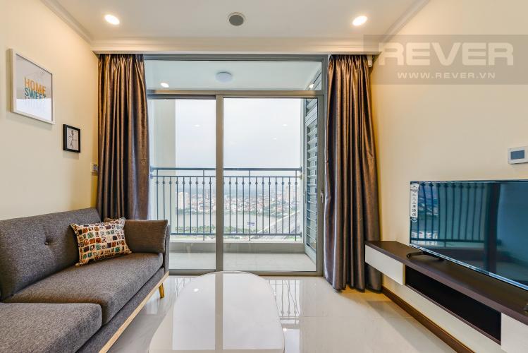 Phòng Khách Cho thuê căn hộ Vinhomes Central Park tầng cao 2PN view sông