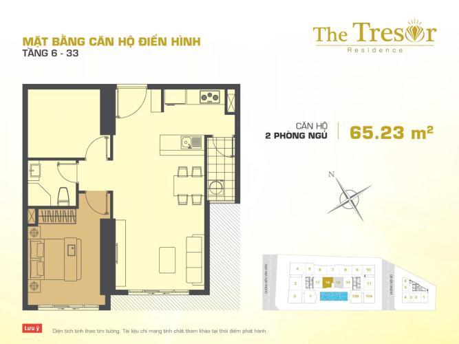 Căn hộ 2 phòng ngủ Căn hộ The Tresor 2 phòng ngủ tầng cao TS1 đầy đủ nội thất