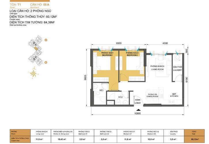 Mặt bằng căn hộ 2 phòng ngủ Căn hộ Masteri Thảo Điền 2 phòng ngủ tầng trung T1 hướng Tây Nam