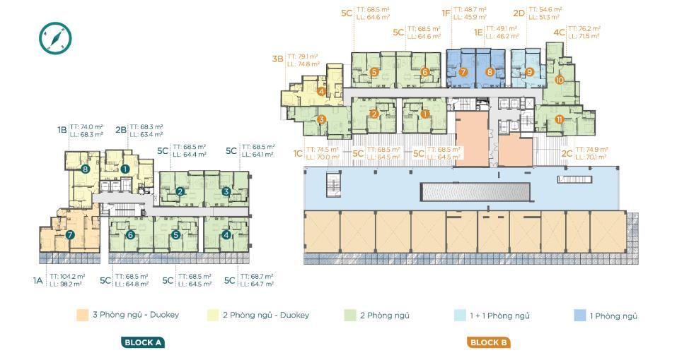 Layout căn hộ D'Lusso, Quận 2 Căn hộ D'Lusso tầng thấp nội thất cơ bản, 2 phòng ngủ.