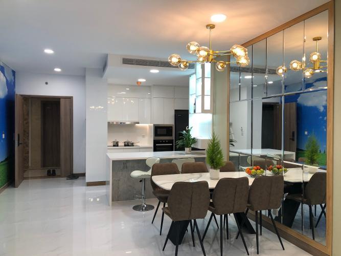 phòng khách Căn hộ Sunwah Pearl tầng 27 ban công Đông Bắc, nội thất đầy đủ