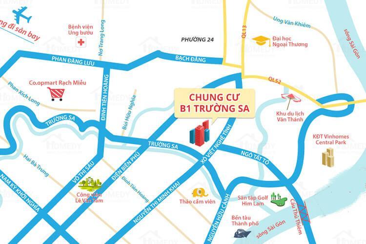 Chung Cư B1 Trường Sa - Vi-tri-chung-cu-b1-truong-sa