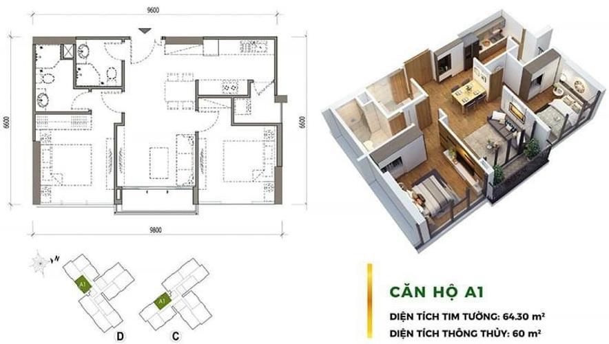 Căn hộ Eco Green Saigon tầng cao, đón view nội khu.