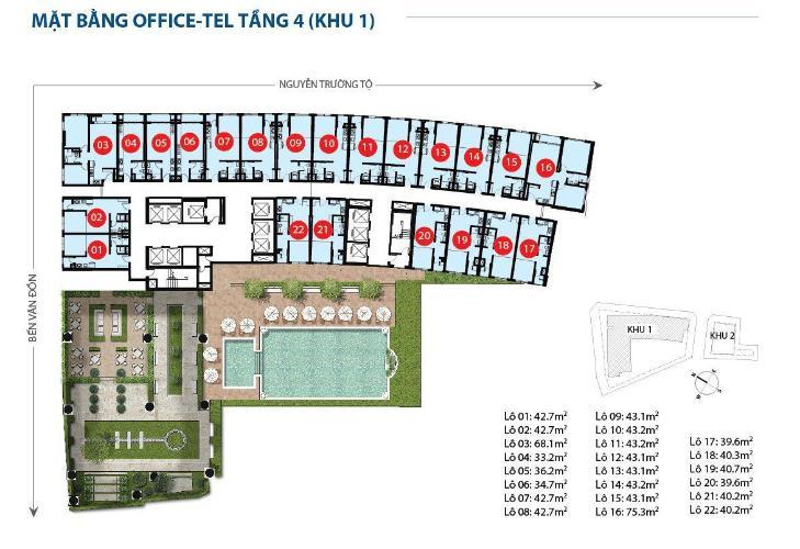 Mặt bằng dự án Office-tel Saigon Royal tầng 04 ban công Đông Bắc, đầy đủ nội thất