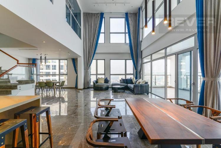 Cho thuê duplex Vinhomes Central Park 5PN, tầng 36, đầy đủ nội thất, view sông Sài Gòn