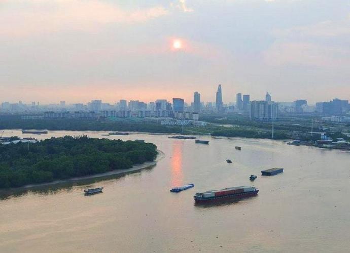 View cảnh căn hộ Diamond Island Căn hộ Diamond Island tầng cao, view sông thơ mộng.