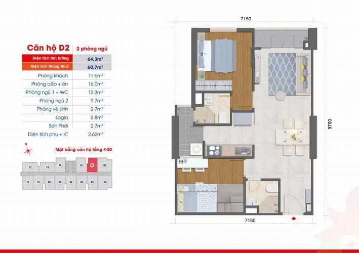 Căn hộ West Intela bàn giao nội thất cơ bản, view tầng cao thoáng mát.