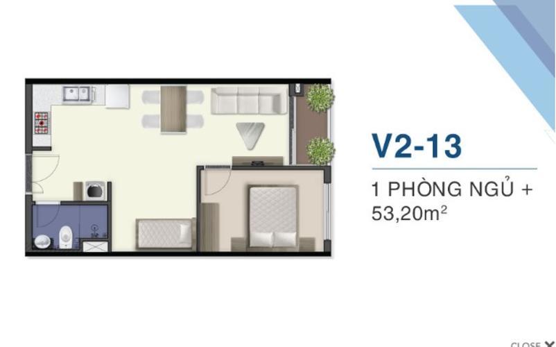 Mặt bằng dự án Q7 Saigon Riverside Bán căn hộ Q7 Saigon Riverside, view sông Sài Gòn, 1 phòng ngủ, tầng trung, diện tích 53m2, chưa bàn giao.