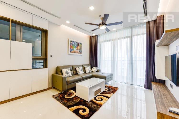 Phòng khách Căn hộ Vinhomes Central Park 2 phòng ngủ tầng cao P7 đầy đủ tiện nghi