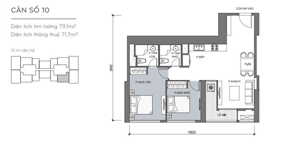Mặt bằng căn hộ 2 phòng ngủ Căn hộ Vinhomes Central Park 2 phòng ngủ tầng cao L4 không nội thất