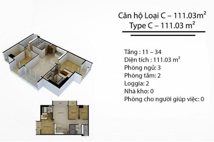 Mặt bằng căn hộ 3 phòng ngủ Căn hộ Cantavil Premier tầng cao D2 thiết kế đẹp, sang trọng, đầy đủ tiện nghi