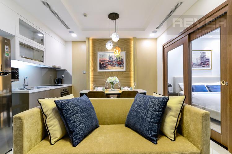 Phòng Khách Căn hộ Vinhomes Central Park tầng cao, tháp Landmark 81, 1PN nội thất đầy đủ