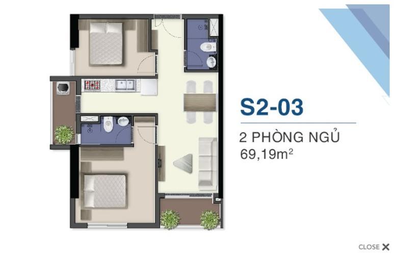 Mặt bằng nội thất Q7 Saigon Riverside Căn hộ Q7 Saigon Riverside tầng cao nội thất cơ bản, hướng Bắc.