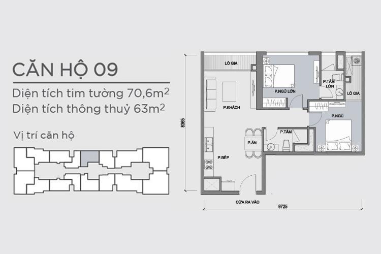 Mặt bằng căn 2 phòng ngủ mã căn 09 Căn hộ Vinhomes Central Park tầng cao hướng Đông Bắc tháp Park 1