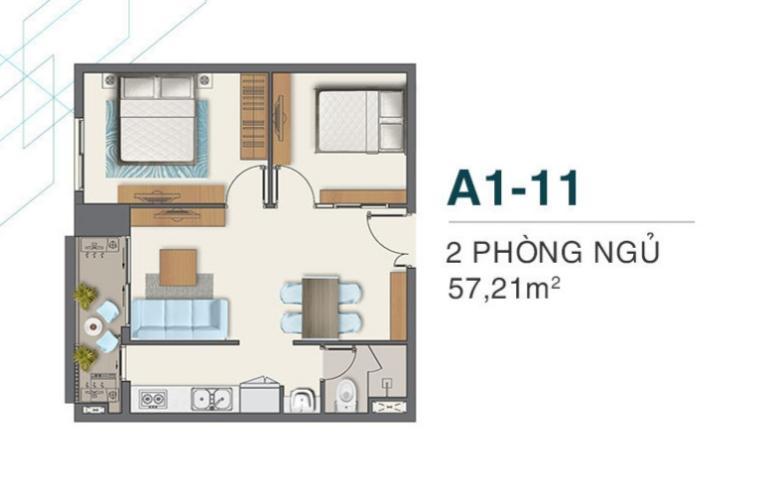 mặt bằng căn hộ q7 boulevard Căn hộ tầng cao Q7 Boulevard 2 phòng ngủ, nội thất cơ bản.
