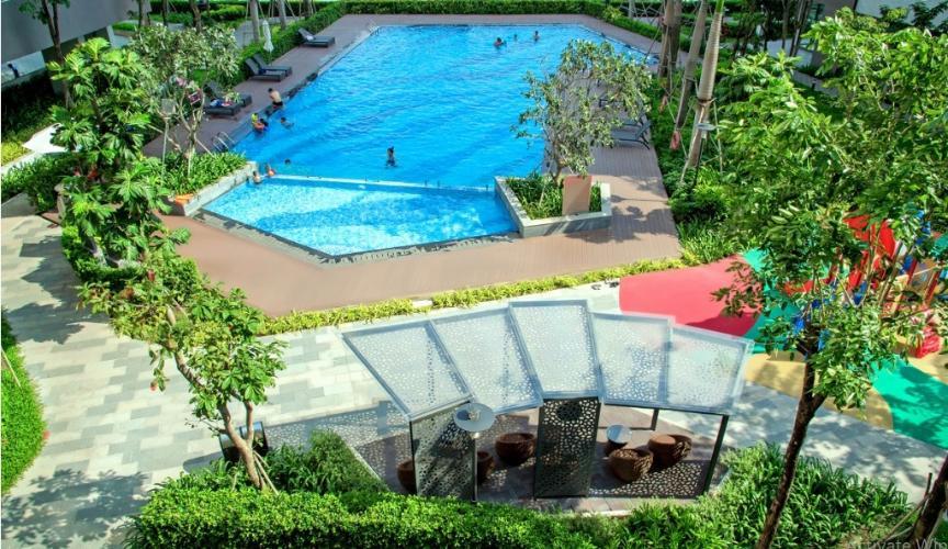 Nội khu hồ bơi Mizuki Park, Bình Chánh Căn hộ Mizuki Park tầng 3, view đường đại lộ thương mại.