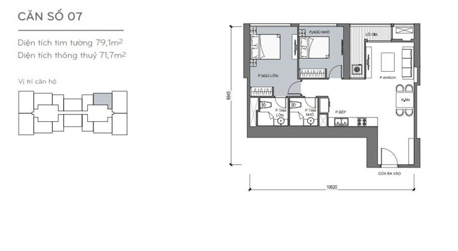 Mặt bằng căn hộ 2 phòng ngủ Căn hộ Vinhomes Central Park 2 phòng ngủ tầng trung L4 hướng Đông Bắc
