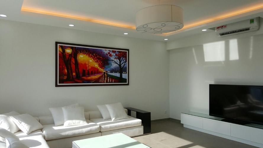 Phòng khách căn hộ Riviera Point Căn hộ tầng cao Riviera Point nội thất đầy đủ, view thành phố sầm uất.