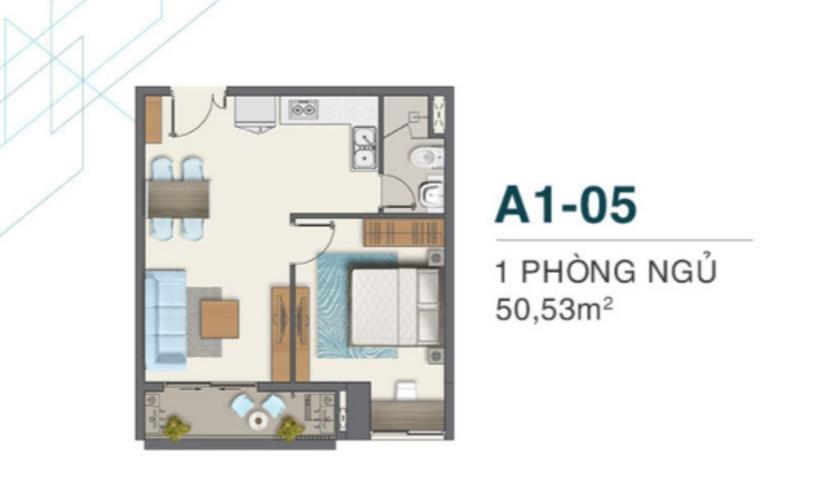 Căn hộ tầng trung Q7 Boulevard 1 phòng ngủ, nội thất cơ bản.