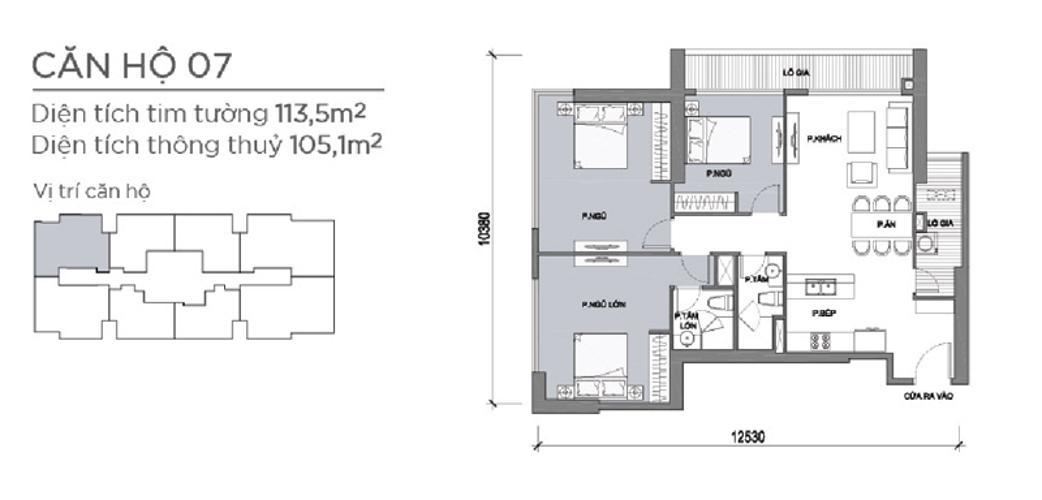 Mặt bằng căn hộ 3 phòng ngủ Căn góc Vinhomes Central Park 3 phòng ngủ tầng cao Park 5 view sông