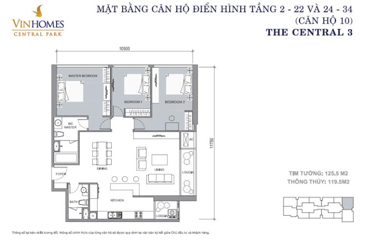Mặt bằng căn hộ 3 phòng ngủ Căn hộ Vinhomes Central Park 3 phòng ngủ tầng cao C3 nội thất đầy đủ