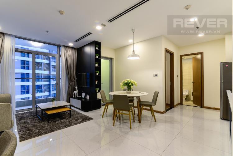 Phòng Khách Cho thuê căn hộ Vinhomes Central Park tháp Park 1 tầng trung, 2PN đầy đủ nội thất