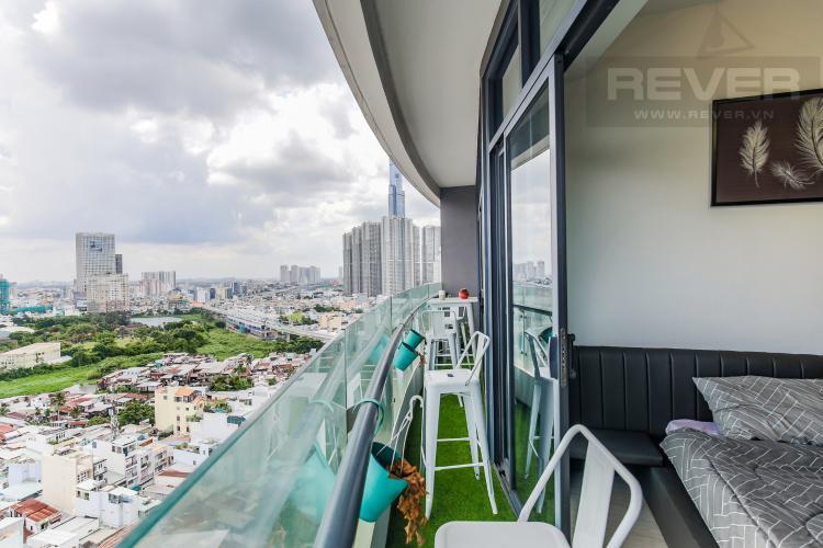 Balcony Bán căn hộ City Garden 2 phòng ngủ diện tích lớn, đầy đủ nội thất, view Landmark 81