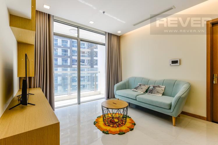 Phòng khách Căn hộ Vinhomes Central Park tầng cao, tháp Park 4, 2PN nội thất đầy đủ, view sông