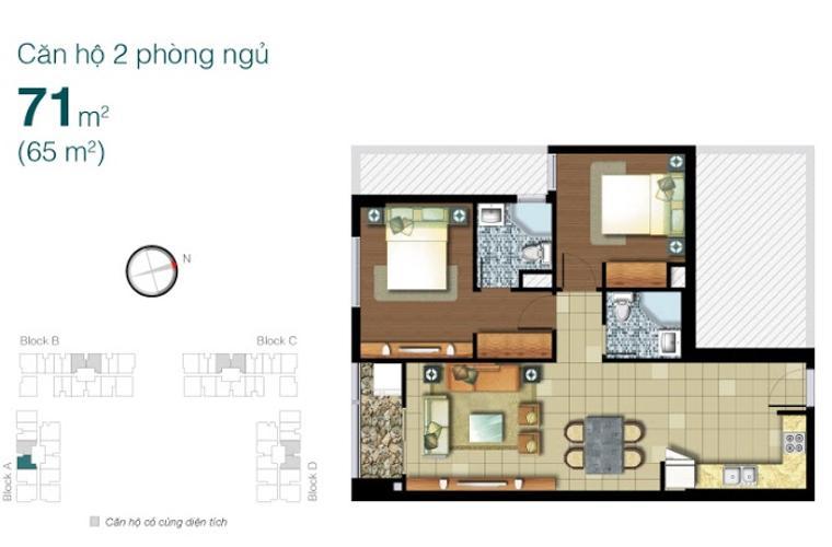 Mặt bằng căn hộ 2 phòng ngủ Căn hộ  Lexington Residence 2 phòng ngủ tầng thấp LA đầy đủ tiện nghi