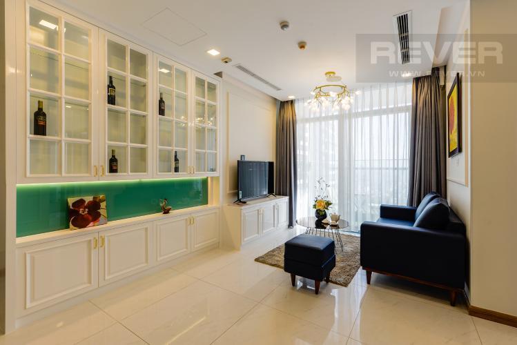 Phòng khách Căn hộ Vinhomes Central Park 2PN tầng cao, tháp Park 6, view công viên và view sông