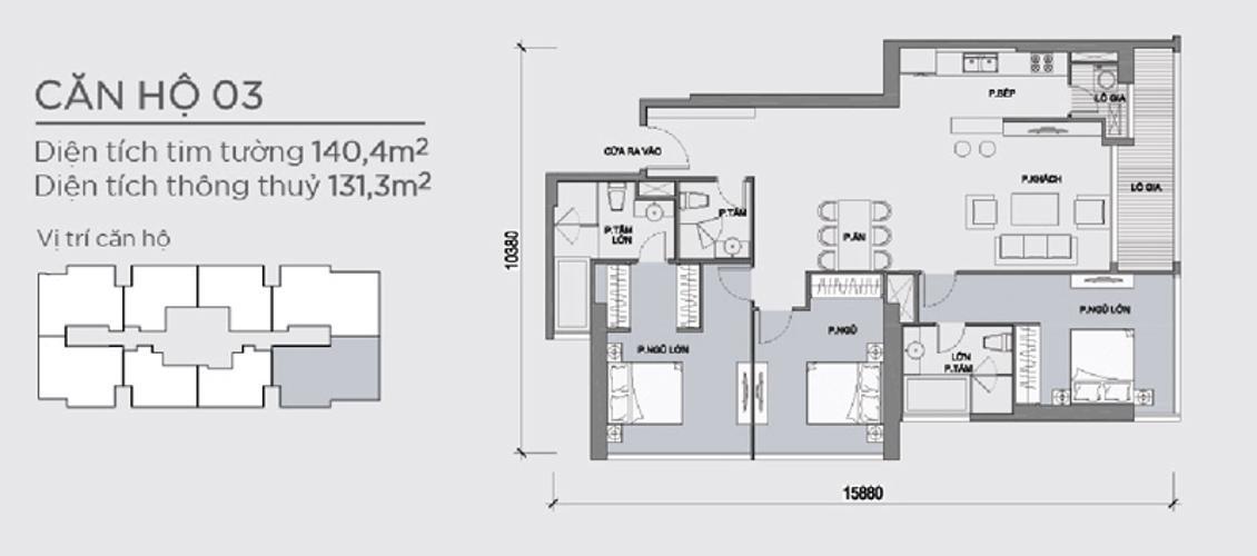 Mặt bằng căn hộ 3 phòng ngủ Căn hộ Vinhomes Central Park 3 phòng ngủ tầng cao P5 view sông