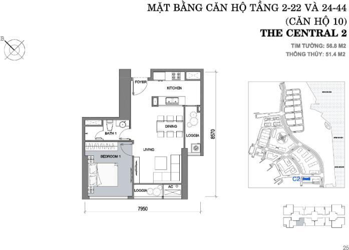 Mặt bằng căn hộ 1 phòng ngủ Căn hộ Vinhomes Central Park 1 phòng ngủ tầng trung C2 view sông