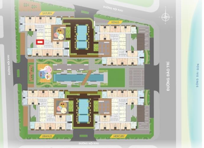 Layout Q7 Sài Gòn Riverside Căn hộ Q7 Saigon Riverside 1 phòng ngủ, ban công hướng Tây.